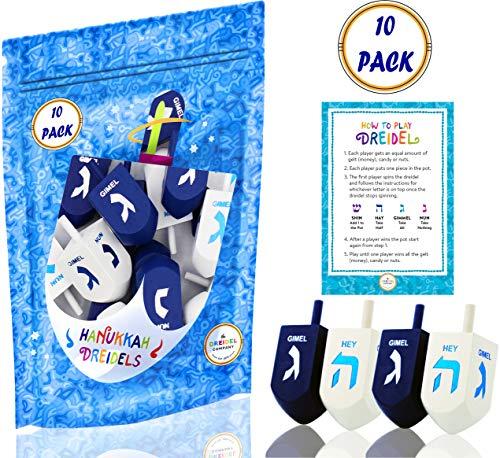 Hanukkah Dreidel Extra Large Blue & White Wooden Dreidels Hand Painted - Includes Game Instruction Cards! (10-Pack XL Dreidels)