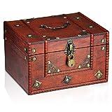 Brynnberg Caja de Madera Dominique 24x20x15cm - Cofre del Tesoro Pirata de Estilo Vintage - Hecha a Mano - Diseño Retro - joyero - con candado