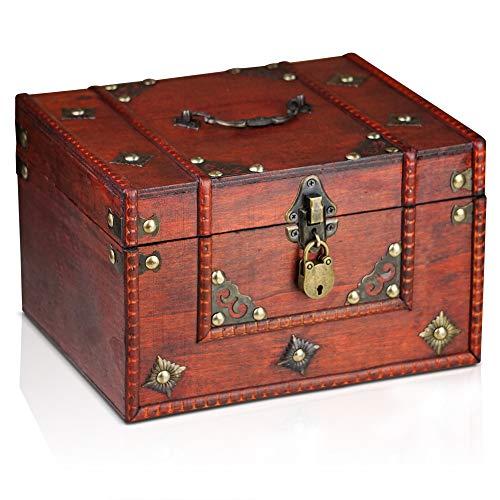 Brynnberg houten piraat schatkist Dominique 24x20x15cm decoratieve opbergdoos - Vintage decoratie handgemaakt - met hangslot afsluitbaar met sleutel