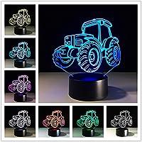 ナイトライト 3D LEDナイトライトカーアクションフィギュア7色タッチ錯覚テーブルランプ ベッドサイドランプ