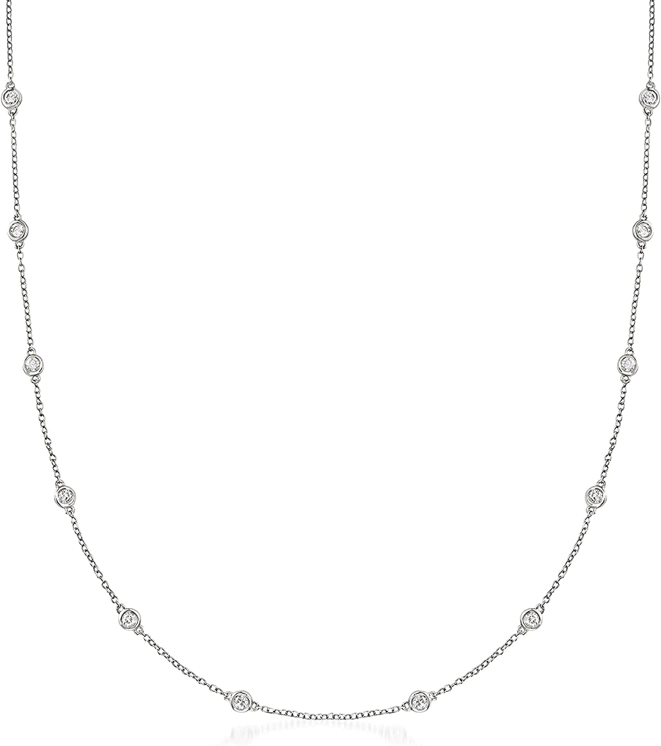 Ross-Simons Free Shipping New 1.00 ct. t.w. Bezel-Set in Diamond Necklace Cheap mail order sales Station