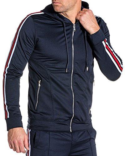 PROJECT X - Veste zippé Navy ajustée Bandes latérales Homme - Couleur: Bleu - Taille: M