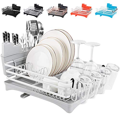 Rottogoon Aluminum Dish Drying Rack 165quot x 118quot Compact Rustproof Dish Rack and Drainboard Set Dish Drainer with Adjustable Drainage Channel Removable Cutlery and Cup Holder Light Gray amp Silver