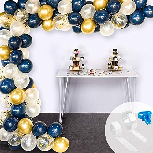 GRESAHOM Balloons Garland Arch Kit, Gold Blue White Confetti Latex Foil Balloon, Glue Dot, Strip, Ribbon for Baby Shower Wedding Birthday Graduation Anniversary Bachelorette Party Background, 104PCS