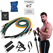 Resistance band 11 Pcs with Cooling Towel Fitness Resistance Band Set with Stackable Exercise Bands Legs Ankle Straps Mult...