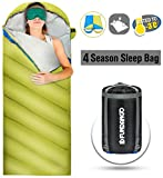 FUNDANGO Sleeping Bag Adults/Kids Lightweight Rectangular/Mummy Compact Waterproof Portable Cool Weather Season Sleeping Bags for Camping Backpacking Hiking (350GSMGreen, 220x86cm-Left)