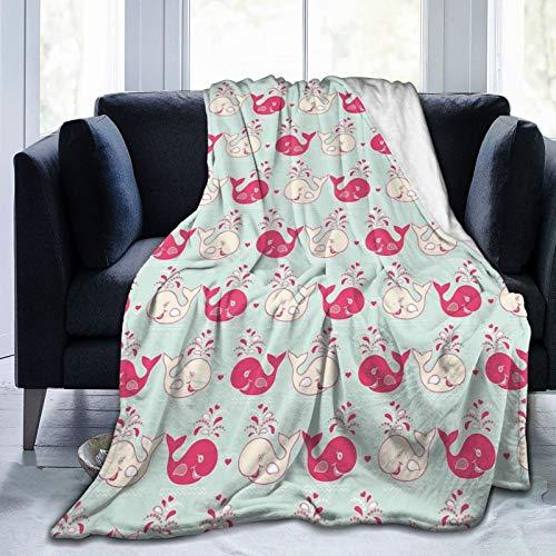 Manta mullida, bonita y alegre patrón de ballenas en tonos pastel suaves con efectos de amor de San Valentín, ultra suave, manta para dormitorio, cama, TV, manta para cama de 80 x 60 pulgadas