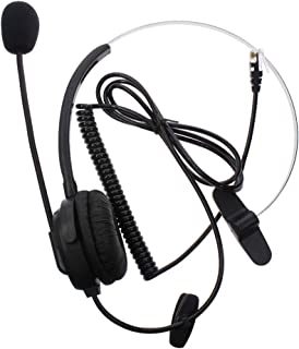AOER Silver Call Service Headset with Adjustable Boom Mic for Telephone/IP Phone Nortel Networks (Northern Telecom) Packet 8 Phones Polycom Safecom ShoreTel 4-pin RJ9 Modular Connector