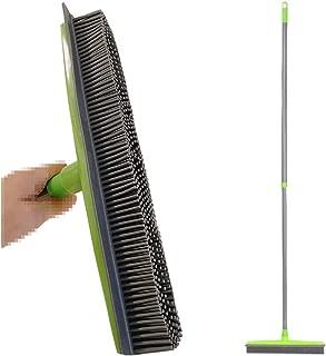 Best Starloop Push Broom Extra Long Handle Rubber Bristles Sweeper Squeegee Edge 55.1 inches Scratch Free Bristle Broom Pet Cat Dog Hair Carpet Hardwood Tile Windows Clean(Grey)