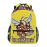 Hornet Insect Mascot Bee School Mochila de lona de gran capacidad para niños, adultos, adolescentes, mujeres, hombres