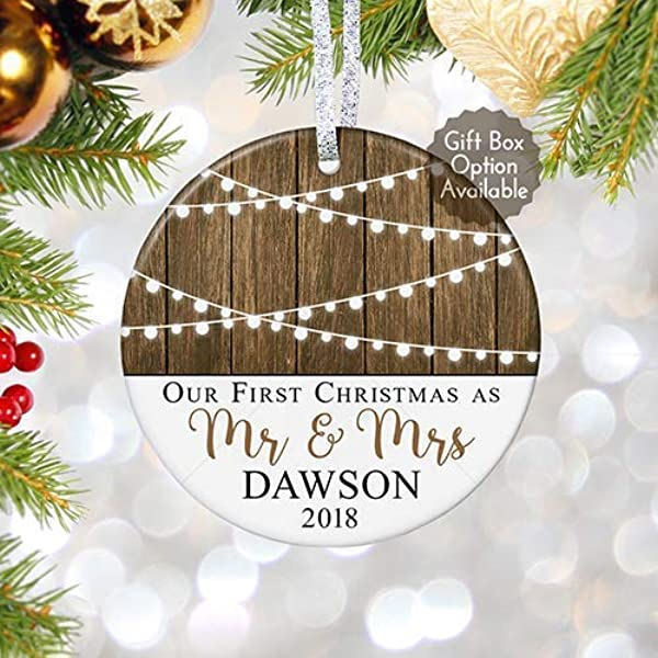 First Christmas As Mr Mrs Ornament 2019 Personalized Rustic 1st Married Christmas Ornament Newlyweds Wedding Gift 3 Flat Circle Porcelain Ceramic Ornament Gold Silver Ribbon PGM OR 59