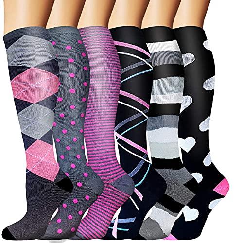 Sooverki Calcetines de compresión para Mujeres y Hombres 20-25 mmHg es el Mejor Graduado atlético, Correr, Volar, Viajar, Enfermeras 15-Multicolor-6 Pares S/M