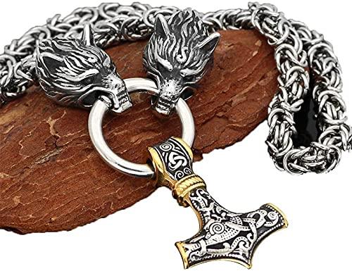 Heren 316L Rvs Wolf Hoofd Thors Hamer Ketting Viking Amulet Thors Hamer Hanger Nordic Amulet,Metalen,90cm