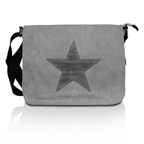 Glamexx24 Tasche Handtaschen Schultertasche Umhängetasche mit Stern Muster Tragetasche TE201620, 23061 Hellgrau, Einheitsgröße