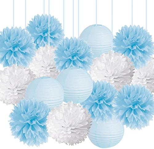 15pcs Baby Shower Decorations Tissue Paper Pom Poms Mixed Paper Lanterns Party Supplies kit product image