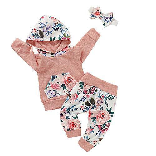 DaceStar Neugeborenes Baby Mädchen Sweatshirt Mädchen Langarm Floral Hoodie Tops and Hosen 3 Stück Outfits Kleidung Set für 0-6monate