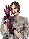 YISEVEN Damen Elegant Lammfelll Lederhandschuhe Kaninchenfell Touchscreen mit Warm Gefüttert Elegant Winter Leder Autofahrer Handschuhe, Weinrot 7.5/L