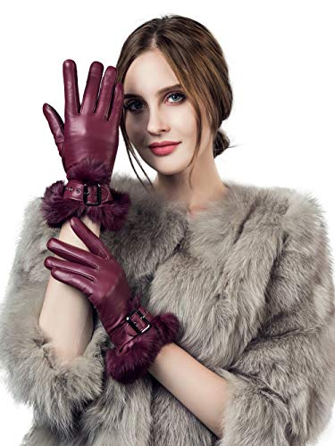 """YISEVEN Womens Sheepskin Leather Gloves Rabbit Fur Cuff Wool Lined Touchscreen Winter Warm Lining Driving Ladies Italian Genuine Dress Work Accessories Thanksgiving Gifts, Wine Red Medium/7.0"""""""