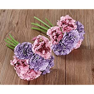Nument Silk Artificial Carnation Flowers Real Touch Flowers 2 Bouquets for Wedding Bridal Bridesmaid Home Decoration (Pink+Purple)