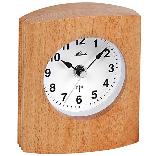 Atlanta - Funkuhr -Tischuhr - massives Holzgehäuse buchefarben - weißes Zifferblatt - Sekundenzeiger silberfarben
