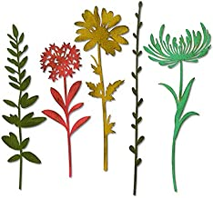 Sizzix Thinlits Die Set , Wildflower Stems #1 by Tim Holtz, 5 Pack, One Size, Multicolor 5 Piece