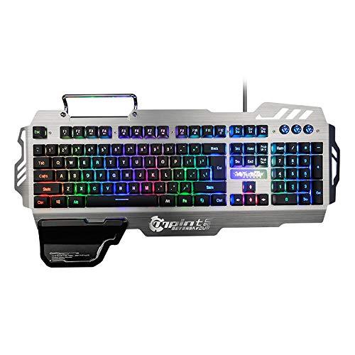 LDJC USB-Gaming-Tastatur, LED-Hintergrundbeleuchtung Mechanischer Gaming-Tastaturschalter Metalltastatur 104 Multimedia-Tastenkombinationen Geschäftsstelle Tastatur Jedi-Überleben,Silvergrey