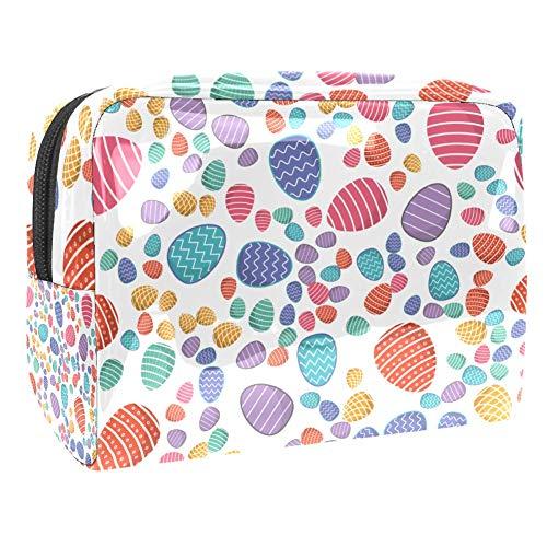 PVC-Make-up-Tasche, tragbar, Kosmetiktasche, Make-up-Set, Tasche mit Tasche, wasserdicht, Aufbewahrungstasche für Frauen und Mädchen, weiße Ostereier