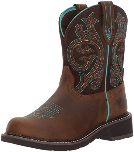 Ariat Women's Fatbaby Leather Western Boots, Distressed Brown, 9.5