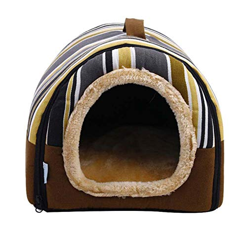 JIEHED Haustier-Zelt Höhle Bett weich warm Haus Winter Hund Kätzchen Schlafsack Kissen Kuschelkissen Höhle Haus Loch Iglu Nest gemütlich dreieckiges Bett für Katzen Welpen