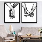 ZXGQF Poster Schwarz und Weiß Hand in Hand Bild
