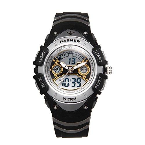 JewelryWe Kinder Junge Mädchen Armbanduhr, 30M Wasserdicht 12H Zwei Zeitzone Digital Elektronische Uhr Sportuhr mit LED Licht, Alarm, Stoppuhr, Datum und Tag Farbe:Schwarz