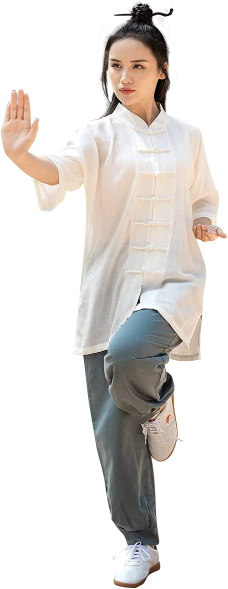 KSUA Unisex Tai Chi Suits Chinese Traditional Martial Arts Uniform Half Sleeves Kung Fu Outfit