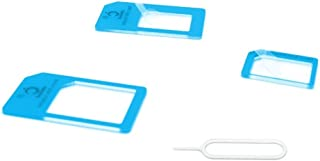 Cismax HD【Amazon即日出荷 】 落下防止機能付Nano SIM MicroSIM 変換アダプター 4点セット あざやかブルー iPhone6S/6/6plus/5S/5C/4S/4/3GS/3用STD xperia スマホ 拡張 ...