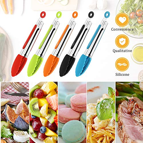 7 Inch Silicone Tongs Mini Kitchen Tongs with Silicone Tips Small Serving Tongs Stainless Steel Cooking Tongs for Salad, Grilling, Frying and Cooking (Black, Red, Blue, Orange, Green, 5 Pieces)