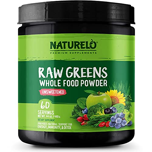 NATURELO Raw Greens Superfood Powder - Unsweetened - Boost Energy, Detox, Enhance Health - Organic Spirulina - Wheat Grass - Whole Food Nutrition from Fruits & Vegetables - 60 Servings
