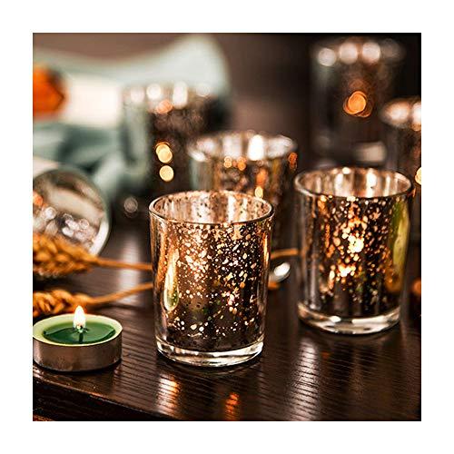 Supreme Lights Glas Teelichthalter 12er Set, 5.2x6.2cm, Gefleckter Teelichtgläser Geschenk Kerzenhalter Deko für Geburtstag, Party, Hochzeit, Feier, Haushalt, Gastronomie(Silber)