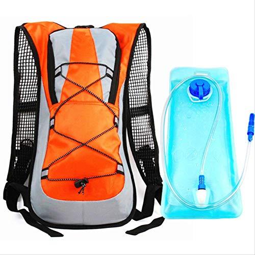 FREEMY Fahrrad-Rucksäcke für Männer und Frauen, leicht zu atmen, Orange and Transparent Tube Water Bag