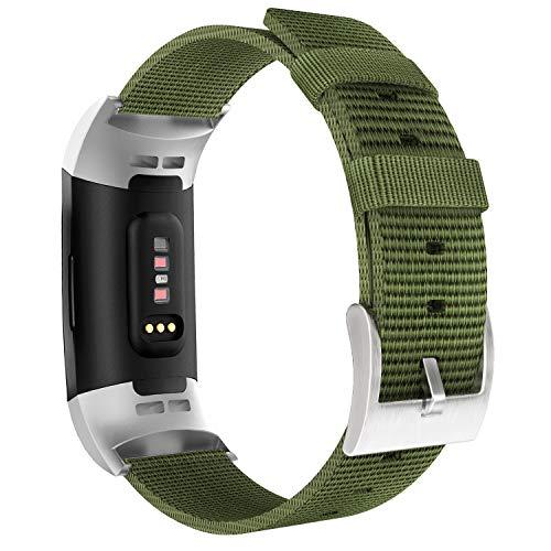 MoKo Cinturino per Fitbit Charge 3 / Charge 4, Morbido Braccialetto Regolabile in Nylon + Connettore per Fitbit Charge 3 / Charge 4 - Esercito Verde