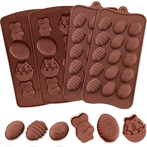 4 x Osterschokoladenformen - Silikonformen mit Hasenkorb, Eierform für kleine Schokolade, Kuchen, Dekoration, Backen, Partyzubehör