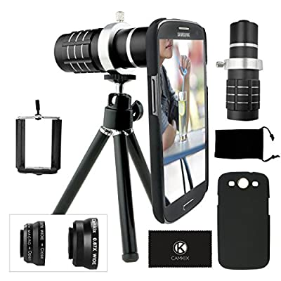 CamKix Camera Lens Kit for Samsung Galaxy S3 including 12x Telephoto Lens / Fisheye Lens / 2 in 1 Macro and Wide Angle Lens and Accessories