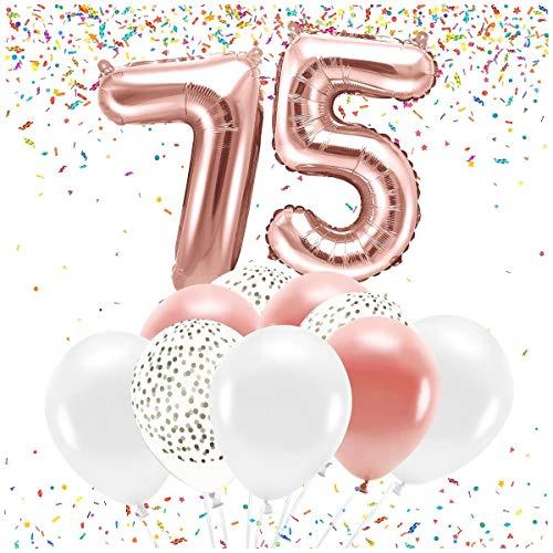 Feste Feiern Party-Deko zum 75. Geburtstag 21 Teile Altrosa Set Zahl 75 Zahlenballon 86cm Luftballon Folienballon 75ster Rosegold weiß metallic Dekoration Happy Birthday Jubiläum