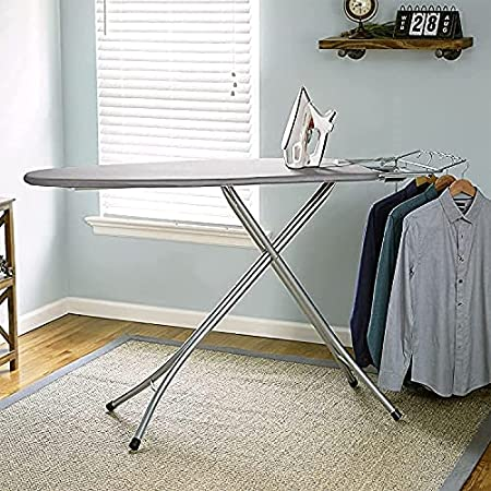 """Sasimo International Quality Extra Large Foldable Gray Wide Steel Top Freestanding Ironing Board with Multi-Function Ironing Table, Ironing Stand with Iron Holder 14"""" X 45"""" inch Grey (Grey #)"""