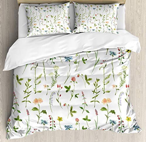 Ambesonne Floral Duvet Cover Set, Spring Season Themed Watercolors Painting of Herbs Flowers Botanical Garden Artwork, 3 Piece Bedding Set with Pillow Shams, Queen/Full, Multicolor