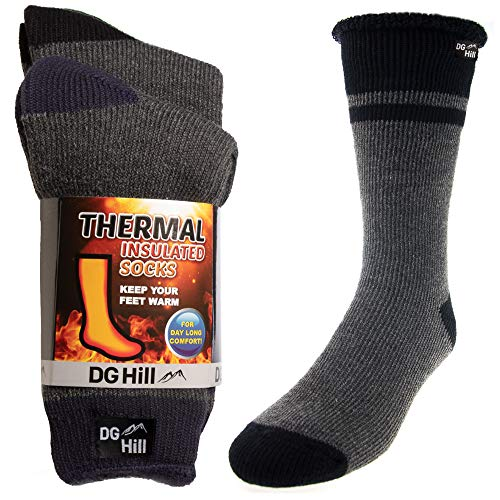 DG Hill 2 Pairs of Mens Thick Heat Trapping Thermal Socks Pack Insulated Warm Winter Crew Sock For Cold Weather