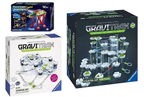 ToysWorld Gravitrax PRO e Gravitrax Starter 2 in 1 Doppio Set Gioco con Sfere Metallo Percorso Biglie Edizione Multilingue con Italiano con Omaggio Tecno Block Luminoso 6 Veicoli in 1
