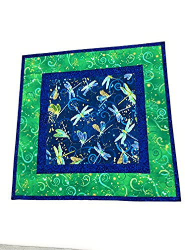 Dragonfly Blue Green Table Topper Quilted Large Square Table Mat, 18x18 in, Reversible Summer Table...