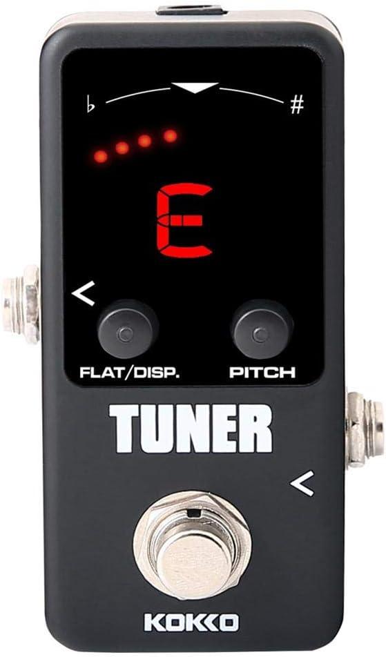 jinclonder Guitar Mini Efectos Sintonizador de Pedal, Sintonizador de Pedal Guitarra eléctrica Sintonizador cromático Monobloque para KOKKO