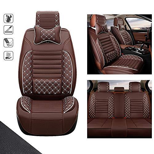 huitelai Fundas de asiento de coche para B uick Encore de 5 asientos de cuero sintético impermeable de fácil instalación – Juego completo y 2 almohadas de lujo edición marrón