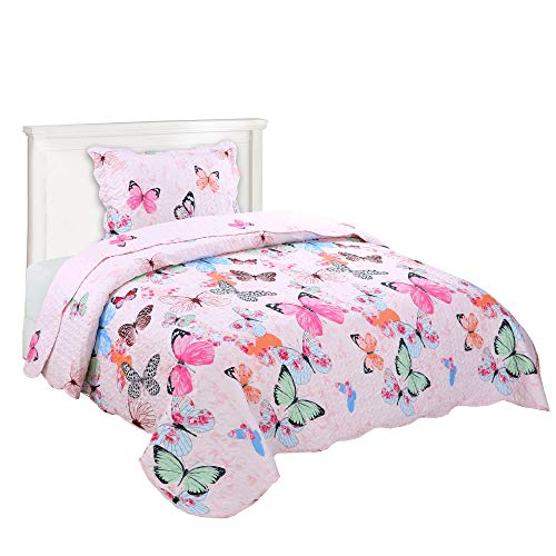 MarCielo 3 Piece Kids Bedspread Quilts Set Throw Blanket for Teens Boys Girls Bed Printed Bedding Coverlet Butterfly A72 (Twin)