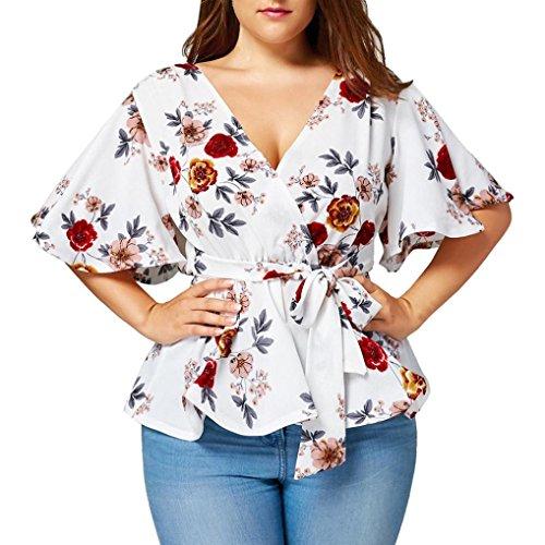 Overdose Mode Damen Sommer Blumendruck Plus Size Belted Surplice Schößchen Bluse V-Ausschnitt Tops Frauen T-Shirt Oberteile(Weiß,XL)